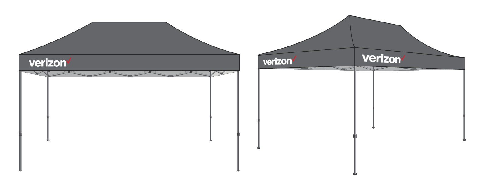 FREE SHIPPING 10x15ft Pop Up Tent Gray Imprinted With White Red Verizon Logo